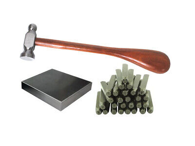 """1"""" Chasing Hammer, Steel Bench Block, 1.5mm A-Z Metal Stamping Letters Set J1442"""