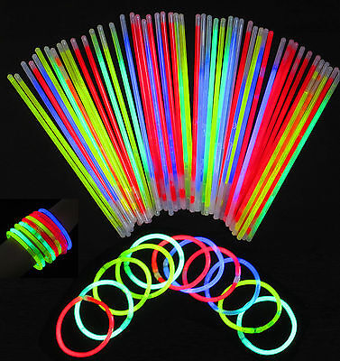 "100 Glow Sticks Bracelets Necklaces Neo Colours Party Favors Disco Rave 8"" UK"