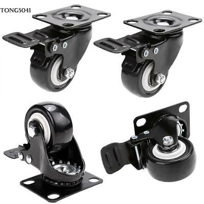 "4 Heavy Duty Caster Set 2"" Wheels All Swivel All Brake Casters Non Skid No Mark"