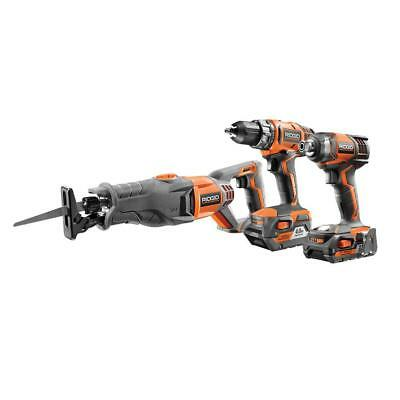 Ridgid R96121 18-volt Cordless 3 Tool Combo Kit With Drill, Impact Driver,