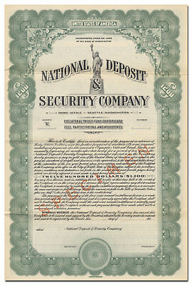 National Deposit & Security Company Bond Certificate, Statue of Liberty Vignette