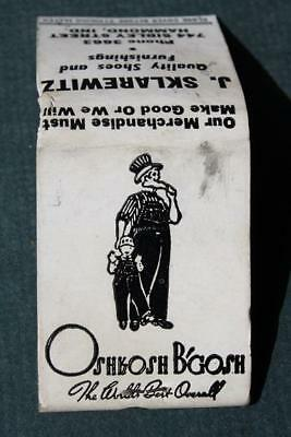1940-50s Hammond,Indiana Oshgosh B'Gosh Overalls store matchbook-Uncle Sam too