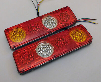 Pair 12V Led Rear Tail Lights Lamp 6 Function Trailer Caravan Truck Tipper 36Led