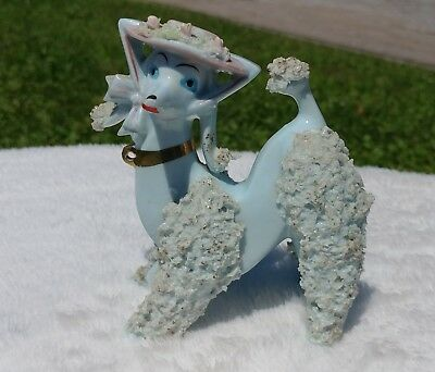 Vintage White Spaghetti Poodle Dog Porcelain Figurine ARNART CREATION Foil Label