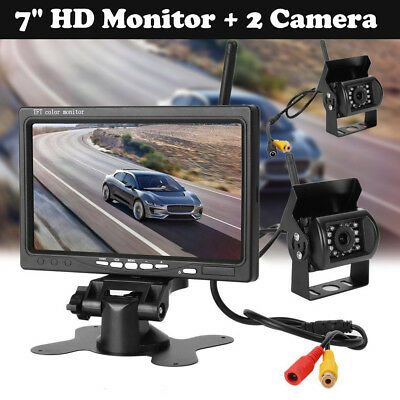 "7"" Monitor+2x Wireless Rear View Backup Camera Night Vision For RV Truck Bus new"