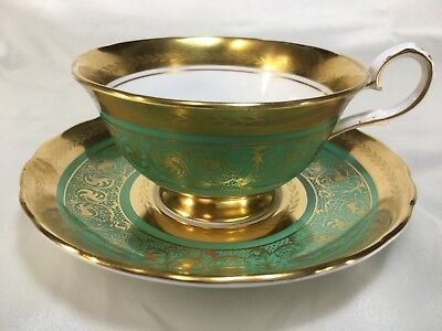Royal Chelsea Green 'MIDAS' Heavy Gold Cup and Saucer - scalloped rims