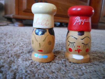 Small, Old Wooden Salt And Pepper Shakers With Handpainted Faces, Chef Hats