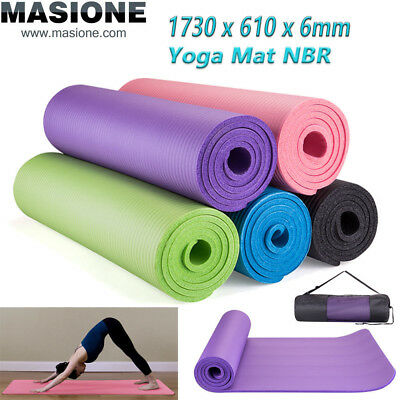 "6mm Yoga Mat Thick PVC Nonslip Pilates Pad Workout Fitness Pad w/Bag 68""x24"""