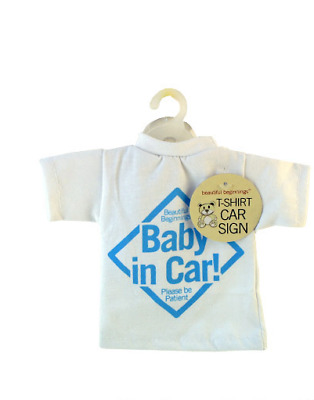 T-shirt Style Baby On Board Car Sign Children Kids Toddlers Window Easy - BLUE