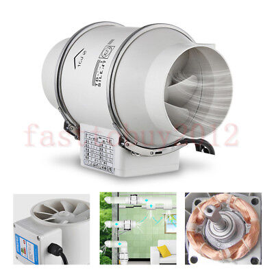 "4"" Inch Inline Duct Pipe Fan Exhaust Air Blower Cooling Ventilation 2600rpm PVC"