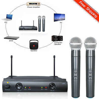 Pro VHF Wireless 2 Channel Dual Handheld Microphone Mic System Party KTV Set BT