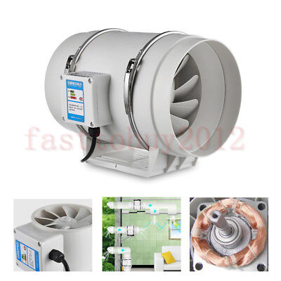 """Double Speed 10"""" Inline Duct Bathroom Vent Hydroponic Ventilation Pipe PVC Fan"""