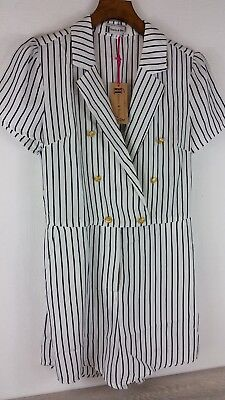 Hearts And Bows black & white Lois stripe tux  Playsuit Size UK 8 A141-4