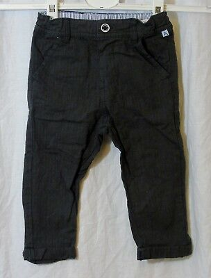 BNWT M/&S Grey Chino Trousers Size 12-18 Months Adjustable Waist