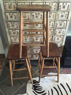 ANTIQUE Victorian? old school lab chairs stools industrial bar kitchen cafe