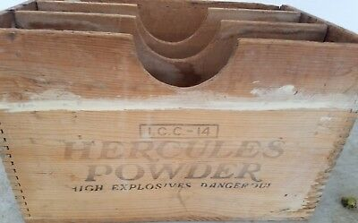"Vintage Wood Hercules Powder Box High Explosives Dangerous 18""x12""x12"" I.C.C.-14"