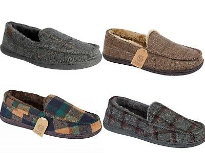 Mens Hampshire Faux Suede Fur Lined Moccasin Classic Slippers Shoes WINCHESTER