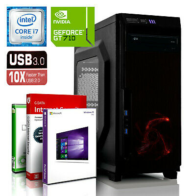 DX12 ULTRA EXO GAMING PC INTEL i7 8GB - 250GB SSD GT710 Windows 10 WLAN Computer