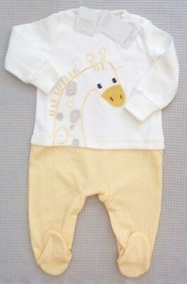 NEW BNWT NEXT Baby Boys Girls Applique Giraffe Sleepsuit Babygrow 0-3-6-9months