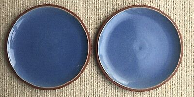 "2 Denby Juice Blue Dessert or Salad Plates 23cms (9"") Diameter."