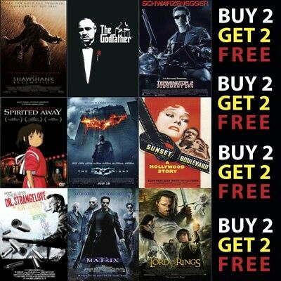 IMDB TOP 1to50 MOVIE POSTERS A4 A3 Photo Prints 300gsm Paper/Card/Metal Plaque