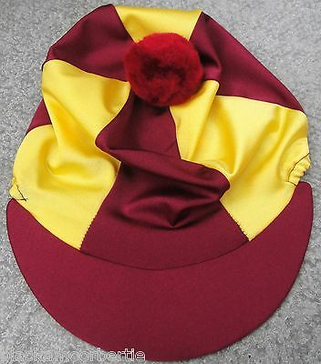 Riding Hat Silk Skull cap Cover BURGUNDY / MAROON  & YELLOW  With OR w/o Pompom