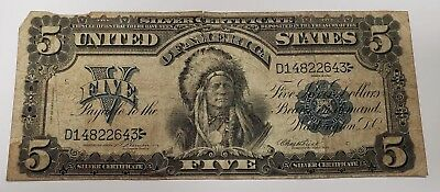 1899 $5 Five Dollar Silver Certificate Indian Chief Note
