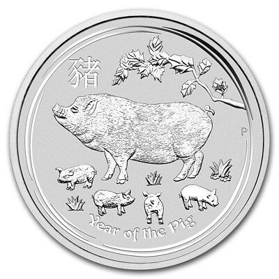 2019 Australia Lunar Series II Year Of The Pig 1oz .9999 Silver BU Capsuled Coin