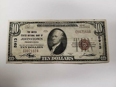 1929 Johnstown Pennsylvania Ten Dollar Bill Note #5913