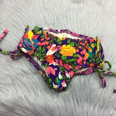 Vtg 1960s Purple Floral Bright Groovy Barkcloth Swimsuit Bottoms Toddler Girls