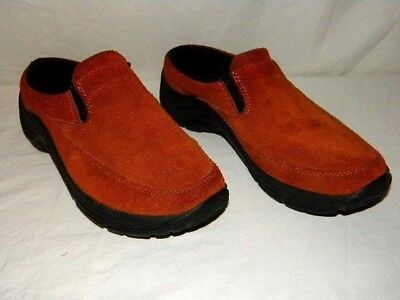 LL Bean Women's Size 9 Brown Suede Leather Slip-on Clog Mules Shoes in EUC