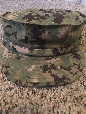 NWU Type III (USED) Navy AOR2 Digital Woodland 8 Point CAP Hat Cover 6 7/8
