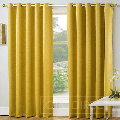 Plain Embossed Blockout Thermal Eyelet Ring Top Curtains, Ochre Mustard Yellow