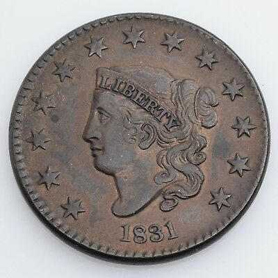 1831 Coronet Head Large Cent Choice About Uncirculated