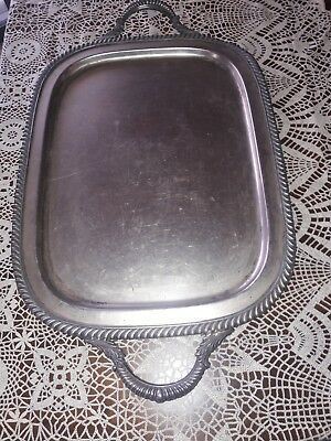"Vintage English Silver Co. Silver On Copper ""Spero"" #1312 Serving Tray w/ Handle"