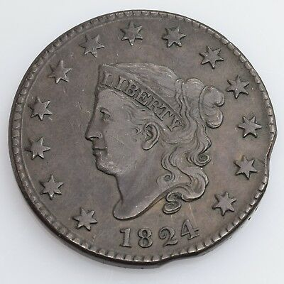 1824 Coronet Head Large Cent Error W/ Two Rim Clips Choice Very Fine Condition