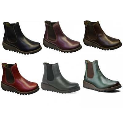 74690045b1a47 FLY LONDON SALV Womens Ladies Leather Wedge Chelsea Ankle Boots Size ...