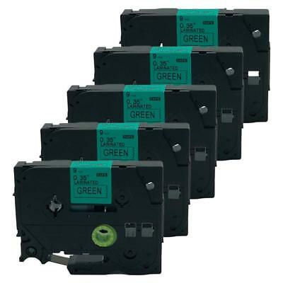 5PK Compatible For Brother P-Touch TZ TZe 721 Label Tape  Black on Green 9mmX8m