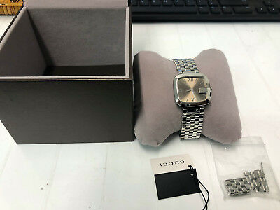 10afdabfe64 excellent Gucci G-Gucci Ladies  YA125410 Stainless Steel Swiss Watch  Authentic