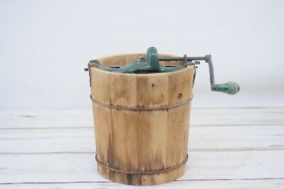 Rare Antique/Vintage 2 Q White Mountain Wood Ice Cream Bucket W/ Hardware & Box