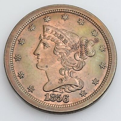 1856 Braided Hair Half Cent Choice About Uncirculated
