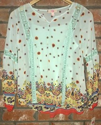 NEW GB GIRLS Long Sleeve Mint Green Silky Light Weight Print Top Size Large