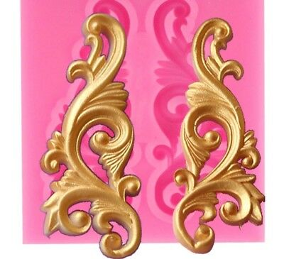 Baroque Scroll Border Mould Wedding Frame Corner Relief Lace Chocolate Gumpaste