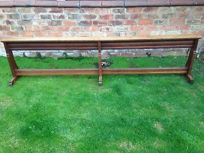 Industrial Vintage Church Refectory Oak Kneeling Bench Seating Kitchen 8'7""