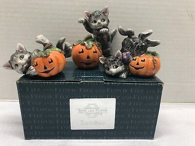 Fitz And Floy Scaredy Kitty Kitten Cat Tumblers  Set Of 3 - Halloween Porcelain