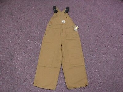 New Carhartt Boys' Duck Washed Bib Overall CM8601 BROWN Size 8