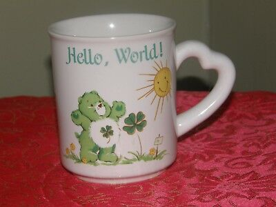 Vintage Care Bears LUCKY Hello, World Mug.....4 Leaf Clover Care Bear