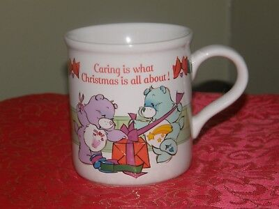 Vintage Care Bears Christmas Mug: Caring is what Christmas is all about EUC