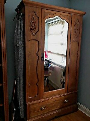 Antique Oak Wardrobe with Mirror and Drawer