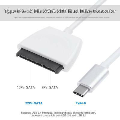USB3.1 Type-C to 22 Pin SATA SDD Hard Drive Adapter Cable Converter Super Speed